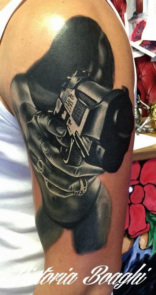 Shoulder Women Gun Tattoo by Victoria Boaghi