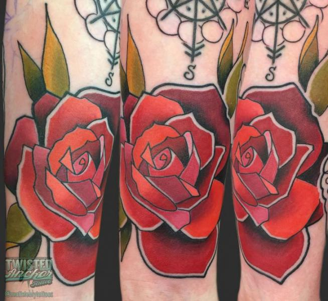 Arm Flower Rose Tattoo by Twisted Anchor Tattoo