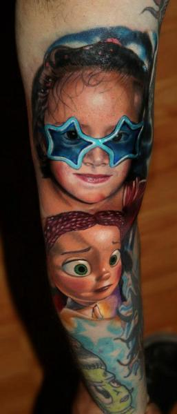 Arm Portrait Children Tattoo by Carlox Tattoo