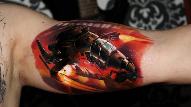 Arm Realistic Helicopter Tattoo by Carlox Tattoo