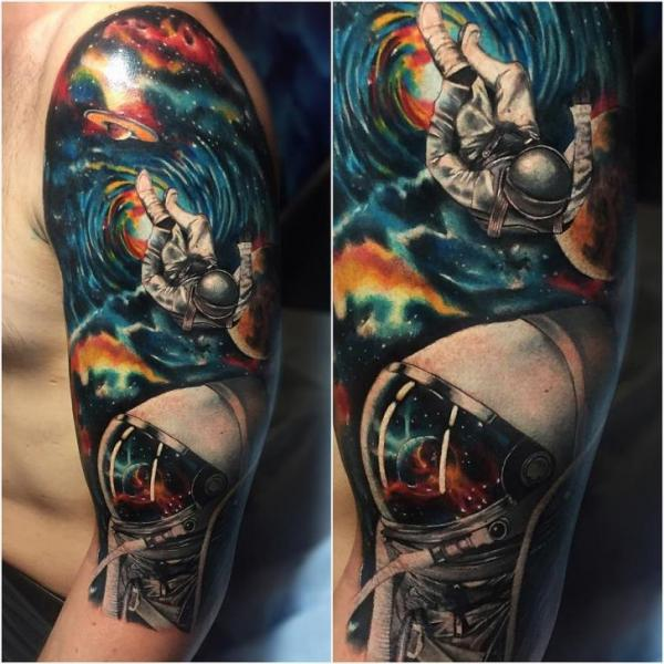 Shoulder Astronaut Space Tattoo by Carlox Tattoo