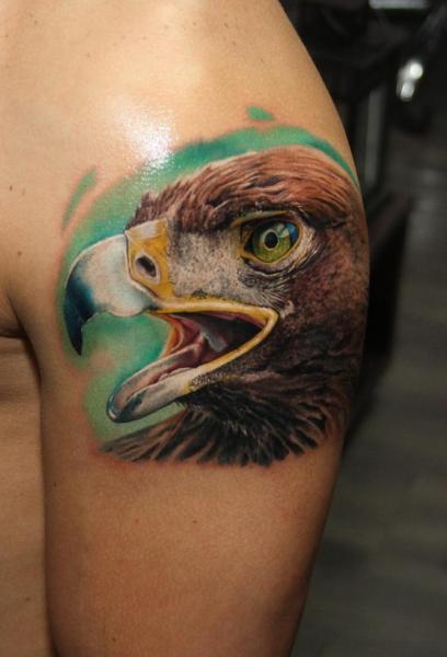 Shoulder Realistic Eagle Tattoo by Carlox Tattoo