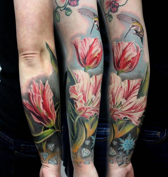 Arm Realistic Flower Tattoo by Puedmag Custom Ink Tattoos