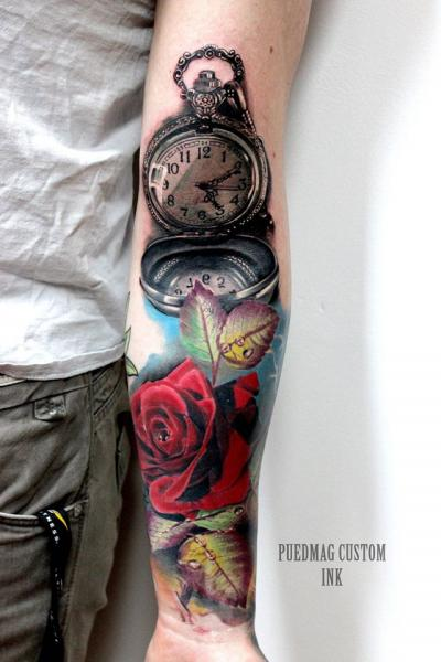Tatuaje Brazo Realista Reloj Flor Rosa Por Puedmag Custom Ink Tattoos