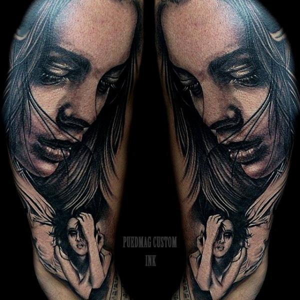 Arm Realistische Frauen Tattoo von Puedmag Custom Ink Tattoos