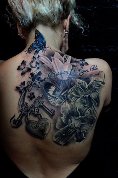 Flower Back Butterfly Key Tattoo by Puedmag Custom Ink Tattoos