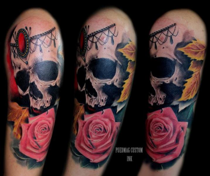 Shoulder Flower Skull Rose Tattoo By Puedmag Custom Ink Tattoos