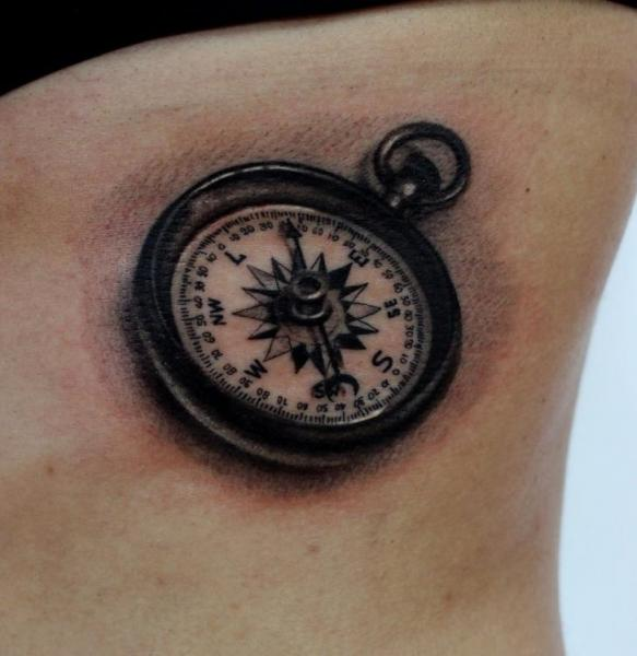 Realistic Side Compass Tattoo by Puedmag Custom Ink Tattoos