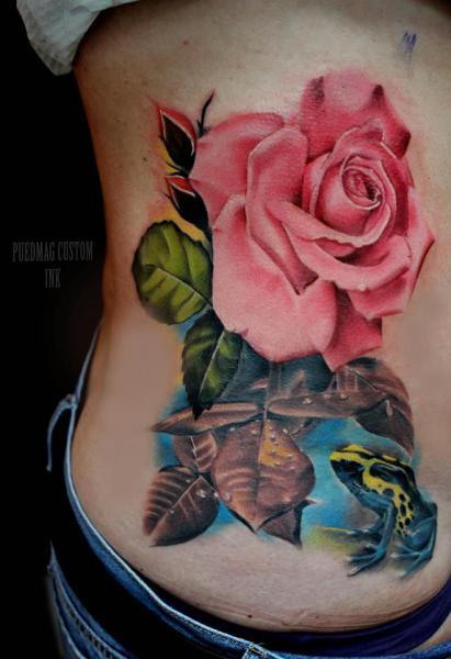Realistic Flower Side Rose Frog Tattoo by Puedmag Custom Ink Tattoos