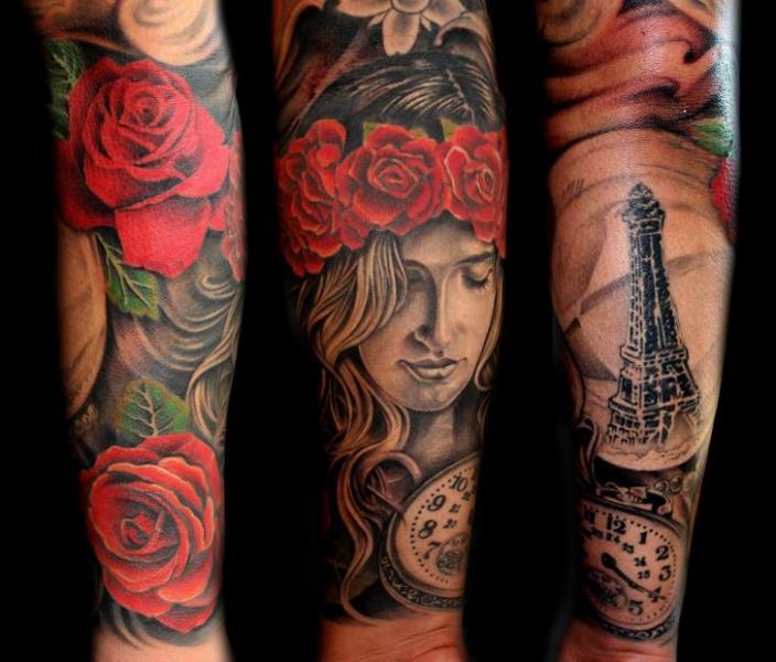 Flower Women Tattoo by Puedmag Custom Ink Tattoos