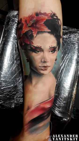 Arm Portrait Women Tattoo by Kipod Studio