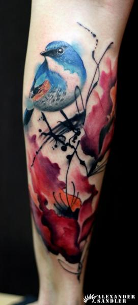 Arm Flower Bird Water Color Tattoo by Kipod Studio