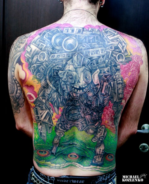 Fantasy Back Character Tattoo by Kipod Studio