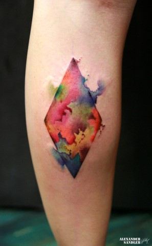 Calf Abstract Water Color Tattoo By Kipod Studio