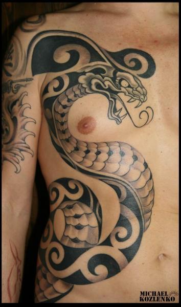 Snake Chest Side Tattoo by Kipod Studio