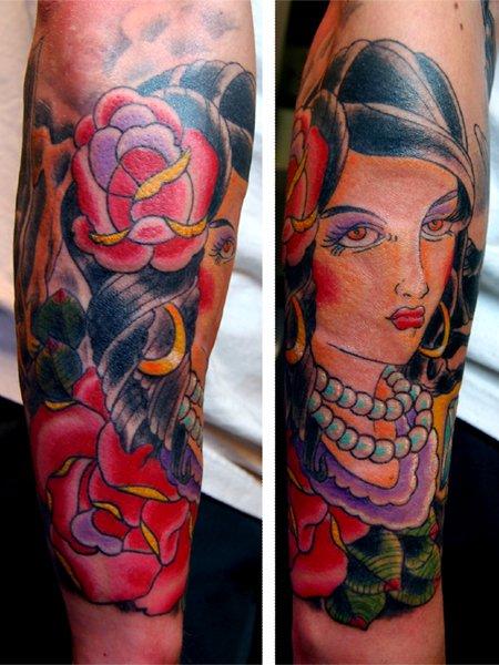 Arm Old School Gypsy Tattoo by Fairlane Tattoo