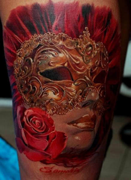 Arm Mask Tattoo by Kwadron Tattoo Gallery