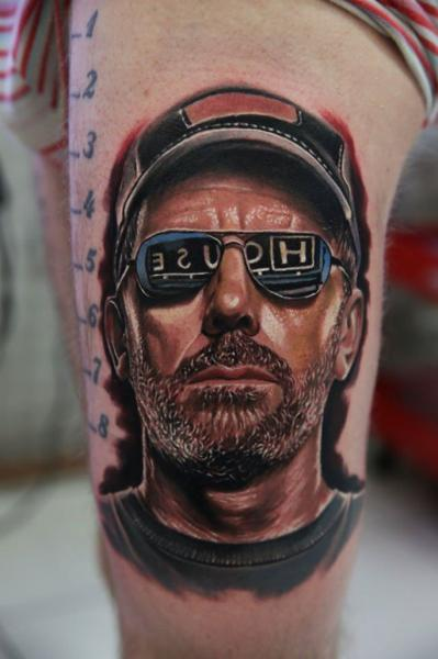 Arm Portrait Dr House Tattoo by Kwadron Tattoo Gallery