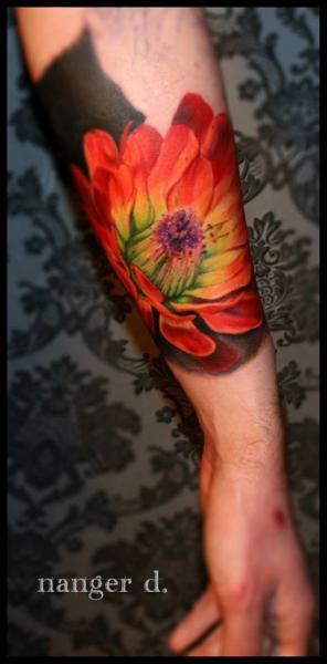 Arm Realistic Flower Tattoo by Kwadron Tattoo Gallery