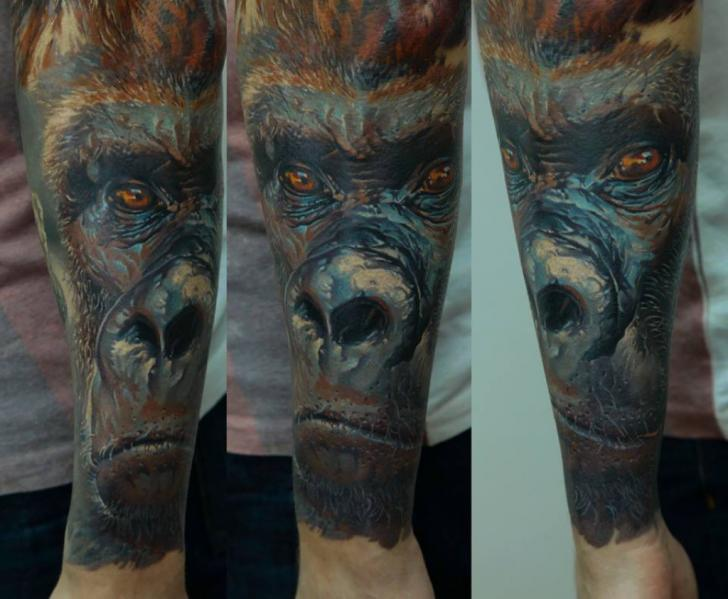 Arm Realistic Gorilla Tattoo by Kwadron Tattoo Gallery