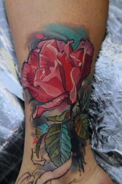 Foot Leg Flower Water Color Tattoo by Kwadron Tattoo Gallery