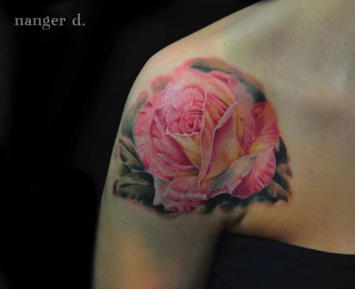 Shoulder Flower Rose Tattoo by Kwadron Tattoo Gallery