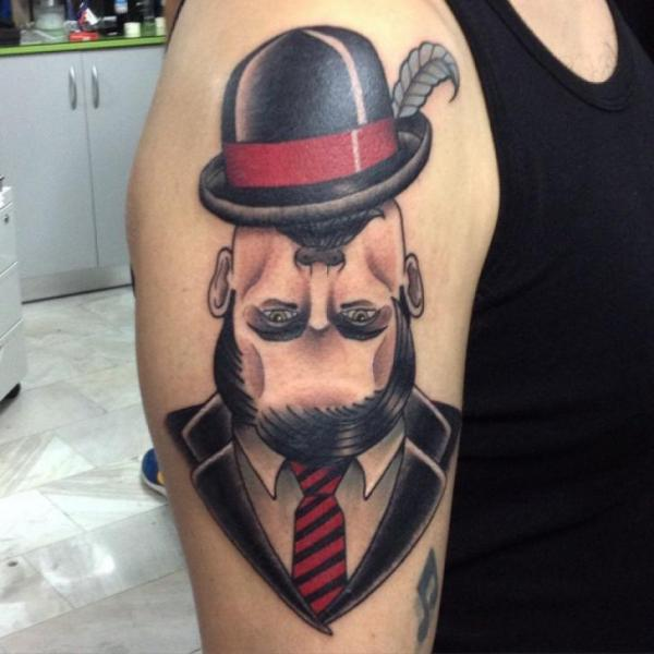 Shoulder New School Men Hat Tattoo by Kwadron Tattoo Gallery