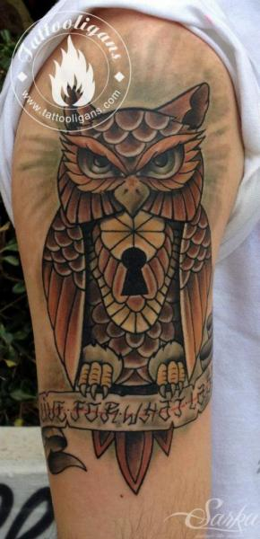 Shoulder New School Owl Tattoo by Kwadron Tattoo Gallery