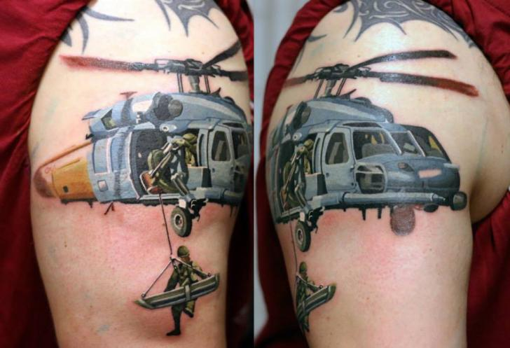 Shoulder Realistic Helicopter Tattoo by Kwadron Tattoo Gallery