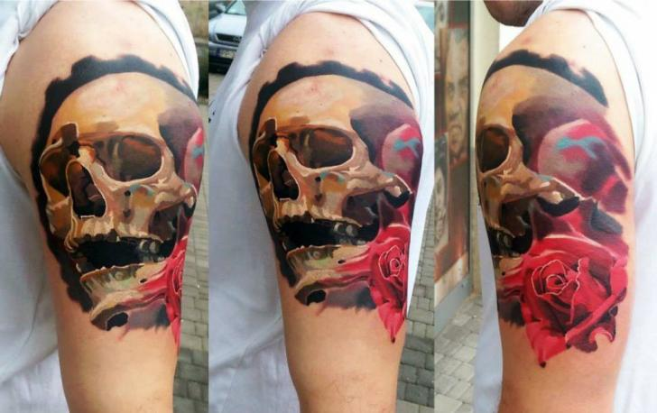 Shoulder Skull Rose Tattoo by Kwadron Tattoo Gallery