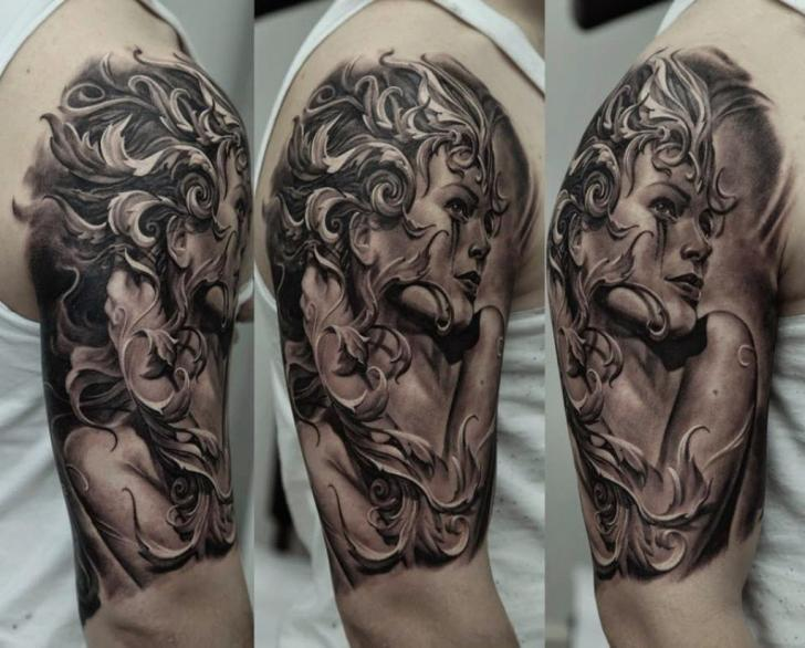 Shoulder Women Tattoo by Kwadron Tattoo Gallery