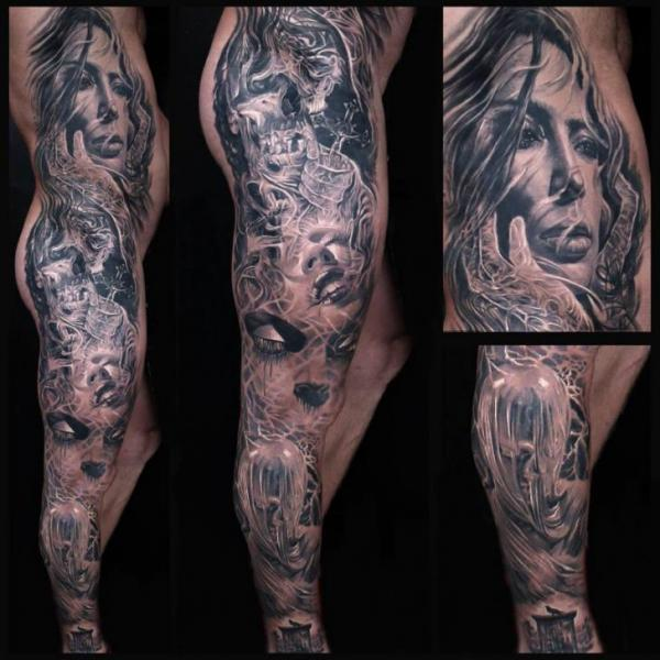 Portrait Leg Side Women Tattoo by Kwadron Tattoo Gallery