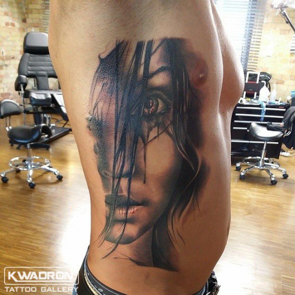 Portrait Side Women Tattoo by Kwadron Tattoo Gallery