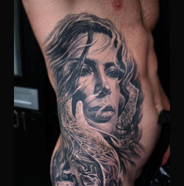 Portrait Side Women Tattoo by Kwadron Tattoo Gallery