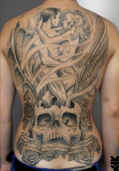 Lettering Skull Back Lovers Tattoo by On Point Tattoo