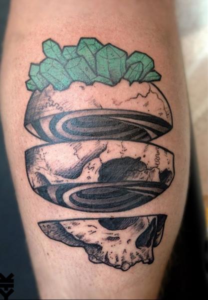 Calf Skull Tattoo by On Point Tattoo