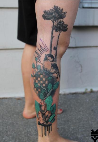 Leg Bird Tree Diamond Tattoo by On Point Tattoo