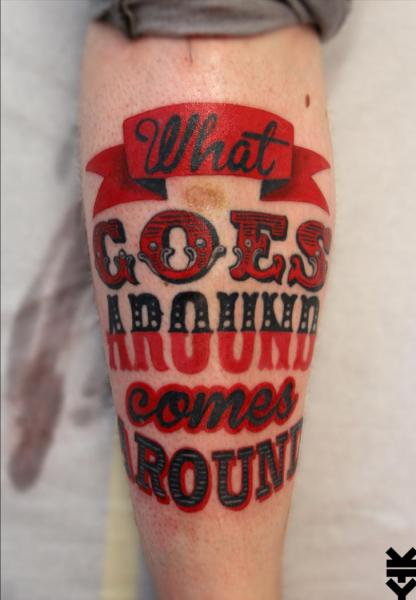 Leg Lettering Fonts Tattoo by On Point Tattoo