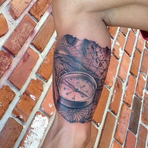 Arm Realistic Compass Map Tattoo by Inkaholik Tattoos