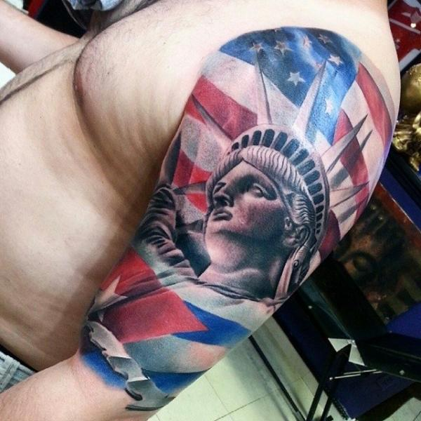 Shoulder Statue Liberty Usa Flag Tattoo by Inkaholik Tattoos