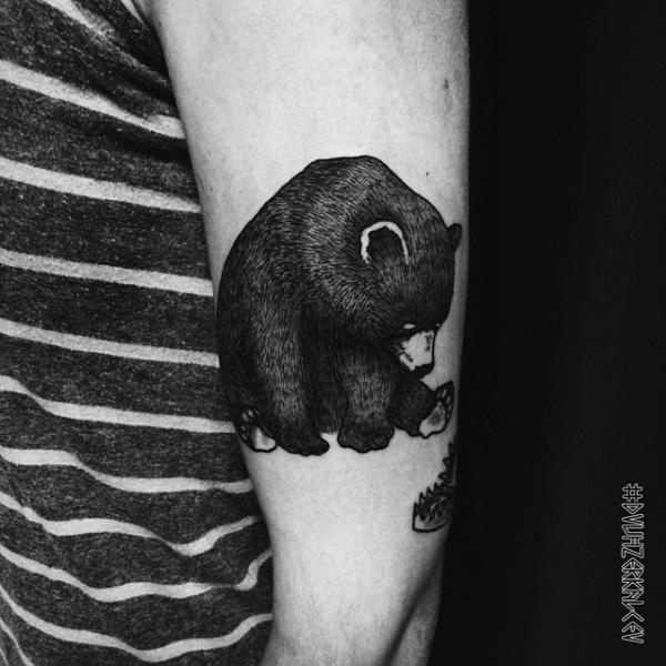 Arm Bear Dotwork Tattoo by Kostya Dvuhzerkalcev