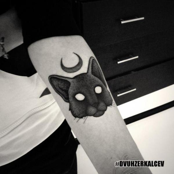 Arm Cat Tattoo by Kostya Dvuhzerkalcev