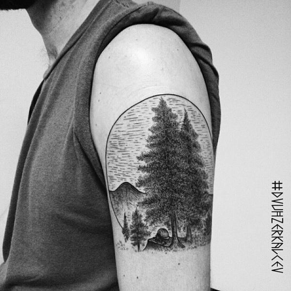 Tatuaggio Braccio Dotwork Albero di Kostya Dvuhzerkalcev