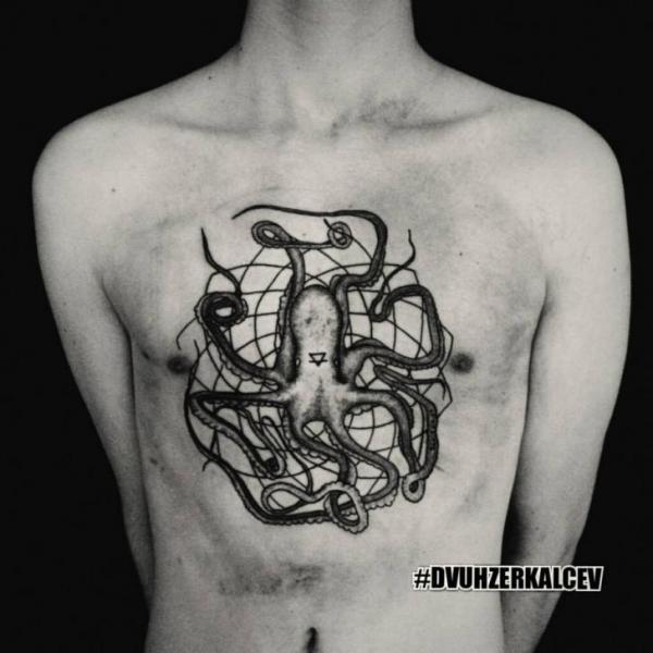 Chest Octopus Tattoo by Kostya Dvuhzerkalcev