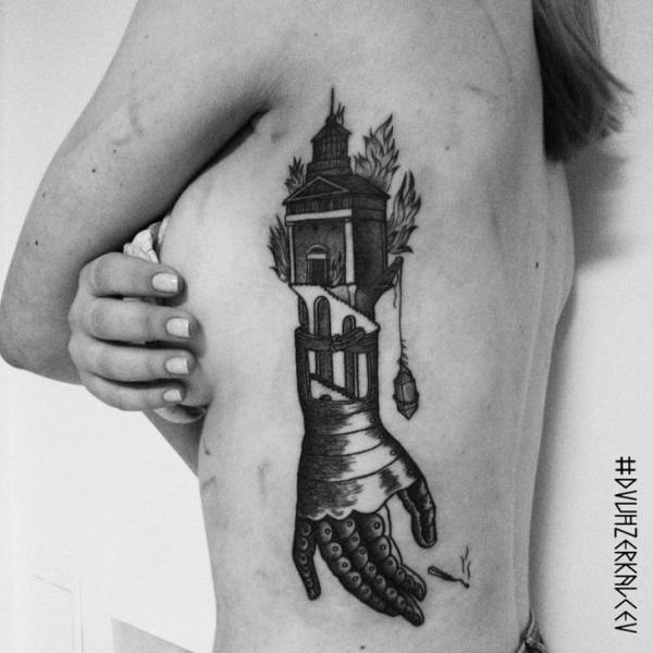 Side Abstract Tattoo by Kostya Dvuhzerkalcev