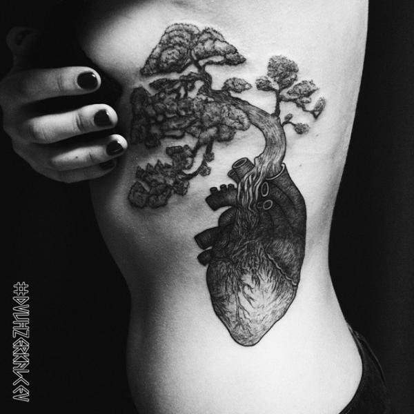 Heart Side Tree Tattoo by Kostya Dvuhzerkalcev