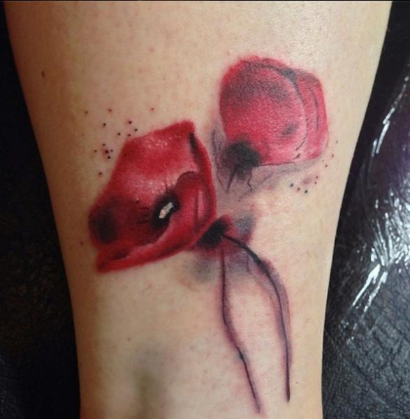 Arm Flower Water Color Tattoo by Sacred Art Tattoo