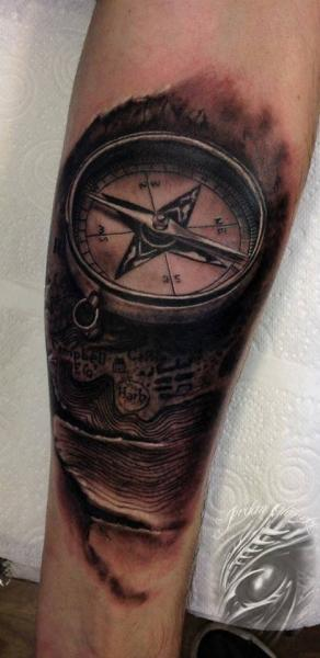 Arm Realistic Compass Tattoo by Sacred Art Tattoo