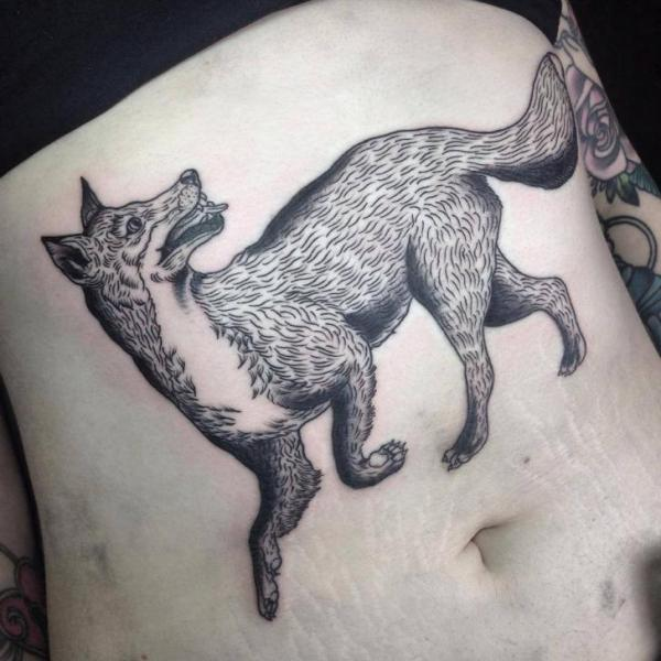 Belly Fox Tattoo by Sacred Art Tattoo