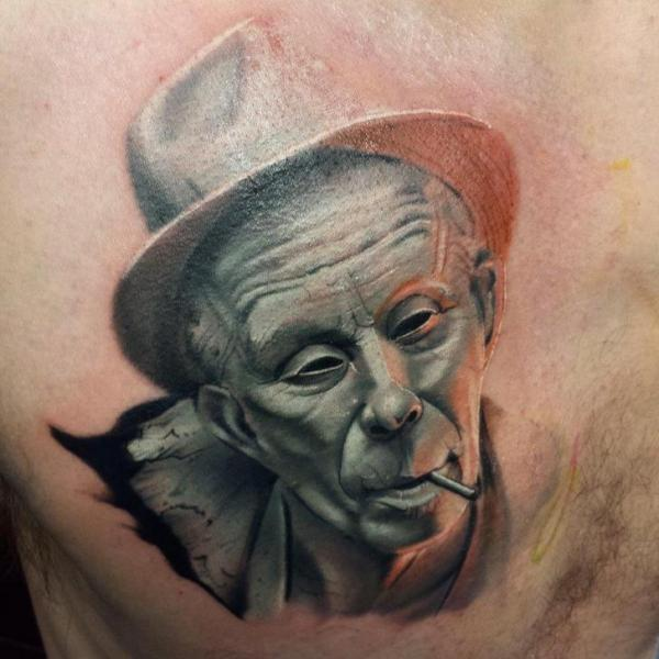 Portrait Chest Tattoo by Sacred Art Tattoo